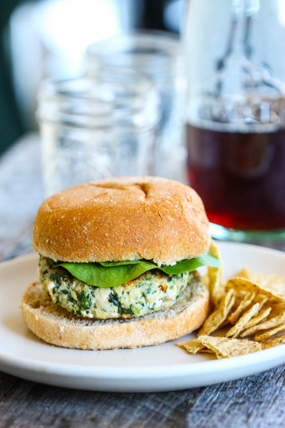 Spinach Goat Cheese Turkey Burgers